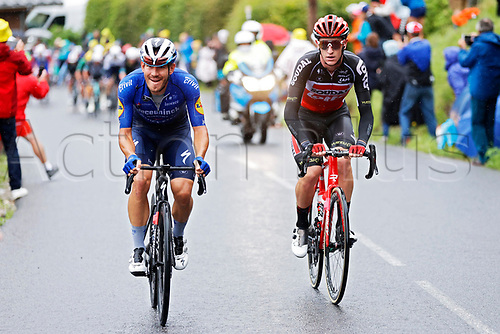 4th July 2021; Tignes, France;  SWEENY Harrison (AUS) of LOTTO SOUDAL and BALLERINI Davide (ITA) of DECEUNINCK - QUICK-STEP during stage 9 of the 108th edition of the 2021 Tour de France cycling race, a stage of 144,9 kms between Cluses and Tignes on July 4