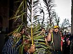 Christian pilgrims celebrate Palm Sunday in Jerusalem Sunday, April 13 2014. Photo by Eyal Warshavsky