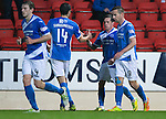 St Johnstone v Hearts…10.08.16..  McDiarmid Park…BetFred Cup<br />Danny Swanson celebrates his penalty<br />Picture by Graeme Hart.<br />Copyright Perthshire Picture Agency<br />Tel: 01738 623350  Mobile: 07990 594431