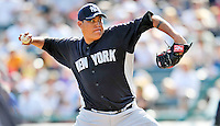 8 March 2011: New York Yankees' pitcher Romulo Sanchez on the mound during a Spring Training game against the Atlanta Braves at Champion Park in Orlando, Florida. The Yankees edged out the Braves 5-4 in Grapefruit League action. Mandatory Credit: Ed Wolfstein Photo