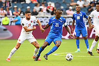 KANSASCITY, KS - JULY 11: Sebastien Cretinoir #21 of Martinique with the ball during a game between Canada and Martinique at Children's Mercy Park on July 11, 2021 in KansasCity, Kansas.