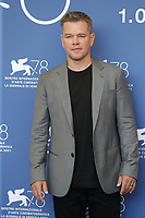 """VENICE, ITALY - SEPTEMBER 10: Matt Damon attends the photocall of """"The Last Duel"""" during the 78th Venice International Film Festival on September 10, 2021 in Venice, Italy. <br /> CAP/GOL<br /> ©GOL/Capital Pictures"""