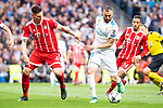 Real Madrid Karim Benzema and Bayern Munich Niklas Sule during Semi Finals UEFA Champions League match between Real Madrid and Bayern Munich at Santiago Bernabeu Stadium in Madrid, Spain. May 01, 2018. (ALTERPHOTOS/Borja B.Hojas)