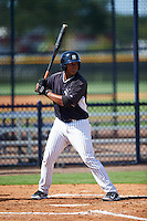 GCL Yankees East right fielder Lisandro Blanco (52) at bat during a game against the GCL Yankees West on August 3, 2016 at the Yankees Complex in Tampa, Florida.  GCL Yankees East defeated GCL Yankees West 12-2.  (Mike Janes/Four Seam Images)