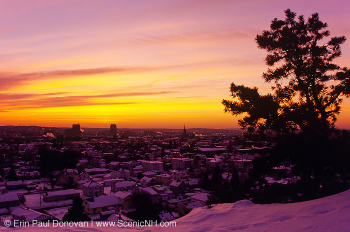 Manchester, New Hampshire USA from from Rock Rimmon Park at sunrise.