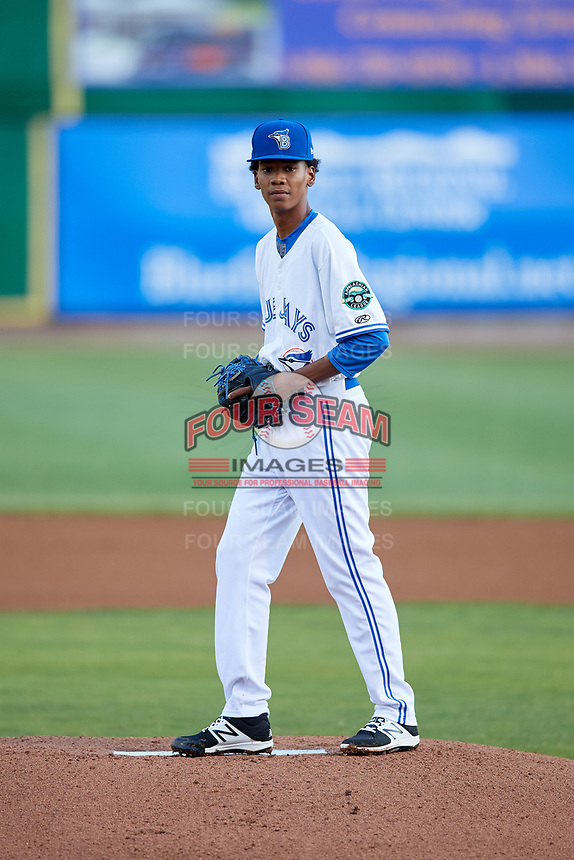 Bluefield Blue Jays starting pitcher Nathanael Perez (28) gets ready to deliver a pitch during the second game of a doubleheader against the Bristol Pirates on July 25, 2018 at Bowen Field in Bluefield, Virginia.  Bristol defeated Bluefield 5-2.  (Mike Janes/Four Seam Images)