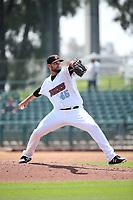 Travis Herrin (45) of the Inland Empire 66ers pitches against the Lake Elsinore Storm at San Manuel Stadium on June 5, 2019 in San Bernardino, California. (Larry Goren/Four Seam Images)