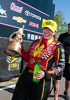 Apr 14, 2019; Baytown, TX, USA; NHRA top fuel driver Brittany Force celebrates after winning the Springnationals at Houston Raceway Park. Mandatory Credit: Mark J. Rebilas-USA TODAY Sports