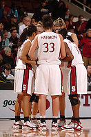 1 January 2006: Jillian Harmon and the team during Stanford's 91-68 win over the UCLA Bruins at Maples Pavilion in Stanford, CA.