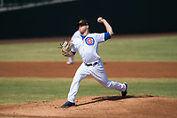 Mesa Solar Sox starting pitcher Justin Steele (45), of the Chicago Cubs organization, delivers a pitch during an Arizona Fall League game against the Peoria Javelinas at Sloan Park on October 24, 2018 in Mesa, Arizona. Mesa defeated Peoria 4-3. (Zachary Lucy/Four Seam Images)