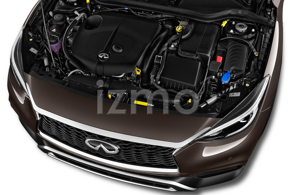 Car Stock 2017 Infiniti QX0 Premium-Tech-4wd 5 Door Suv Engine  high angle detail view