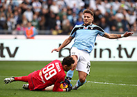 Football, Serie A: S.S. Lazio - Spal, Olympic stadium, Rome, February 2, 2020. <br /> Lazio's captain Ciro Immobile (r) in action with Spal's goalkeeper Etrit Berisha (l) during the Italian Serie A football match between S.S. Lazio and Spali at Rome's Olympic stadium, Rome , on February 2, 2020. <br /> UPDATE IMAGES PRESS/Isabella Bonotto