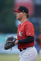 Kannapolis Intimidators first baseman Corey Zangari (25) on defense against the Hagerstown Suns at Kannapolis Intimidators Stadium on August 27, 2019 in Kannapolis, North Carolina. The Intimidators defeated the Suns 5-4. (Brian Westerholt/Four Seam Images)