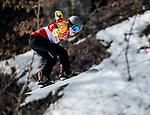 Colton Liddle, PyeongChang 2018 - Para Snowboard // Parasnowboard.<br /> Highlights of Team Canada during a snowboard cross training session // Faits saillants d'Équipe Canada lors d'une session d'entraînement de snowboard cross. 10/03/2018.