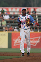 Myrtle Beach Pelicans shortstop Hanser Alberto #5 in the field during a game against the Carolina Mudcats at Ticketreturn.com Field at Pelicans Park on June 30, 2012 in Myrtle Beach, South Carolina. For this game the Pelicans wore special cancer awareness ribbon jerseys that were later auctioned off with the proceeds going to cancer charites. Myrtle Beach defeated Carolina by the score of 5-4 in 11 innings. (Robert Gurganus/Four Seam Images)