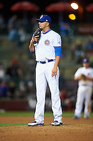 South Bend Cubs pitcher Jordan Minch (3) looks in for the sign during a game against the Cedar Rapids Kernels on June 5, 2015 at Four Winds Field in South Bend, Indiana.  South Bend defeated Cedar Rapids 9-4.  (Mike Janes/Four Seam Images)