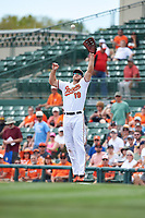 Baltimore Orioles first baseman Chris Davis (19) jumps to catch a throw during a Spring Training exhibition game against the Dominican Republic on March 7, 2017 at Ed Smith Stadium in Sarasota, Florida.  Baltimore defeated the Dominican Republic 5-4.  (Mike Janes/Four Seam Images)