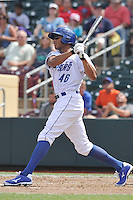 Justin Maxwell #46 of the Omaha Storm Chasers swings against the Las Vegas 51s at Werner Park on August 17, 2014 in Omaha, Nebraska. The Storm Chasers  won 4-0.   (Dennis Hubbard/Four Seam Images)