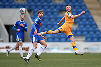 Ollie Clarke of Mansfield Town and Harry Pell of Colchester United during Colchester United vs Mansfield Town, Sky Bet EFL League 2 Football at the JobServe Community Stadium on 14th February 2021