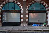 Sleeping place and belongings of homeless rough sleeper, Mayfair, London