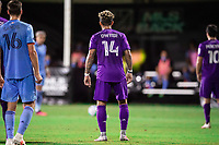 LAKE BUENA VISTA, FL - JULY 14: Dom Dwyer #14 of Orlando City SC waiting for the free kick during a game between Orlando City SC and New York City FC at Wide World of Sports on July 14, 2020 in Lake Buena Vista, Florida.