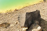 Volcanic rock at Emerald Lake on Tongariro Alpine Crossing, Tongariro National Park, Central Plateau, Ruapehu Region, North Island, UNESCO World Heritage Area, New Zealand, NZ