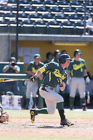 Mitchell Tolman (37) of the Oregon Ducks bats during a game against the Southern California Trojans at Dedeaux Field on April 18, 2015 in Los Angeles, California. Oregon defeated Southern California, 15-4. (Larry Goren/Four Seam Images)