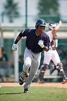 New York Yankees Isiah Gilliam (25) runs to first base during an Instructional League game against the Pittsburgh Pirates on September 28, 2017 at Pirate City in Bradenton, Florida.  (Mike Janes/Four Seam Images)