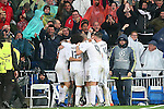 Real Madrid's players celebrate goal during Champions League 2015/2016 Quarter-finals 2nd leg match. April 12,2016. (ALTERPHOTOS/Acero)