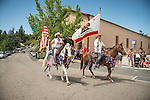 Presentation of the colors with a mounted color guard, Downtown main street during the Independence Day celebration Main Street, Mokelumne Hill, California