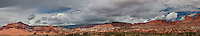 908000003 panoramic view of  a sumer storm over the watterpocket fold at the west entrance to capitol reef national park utah united states