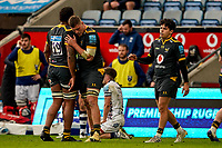 22nd November 2020; Ricoh Arena, Coventry, West Midlands, England; English Premiership Rugby, Wasps versus Bristol Bears; Wasps team congratulate each other for their 23-20 win over Bristol
