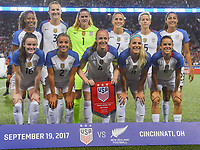 Cincinnati, OH - Tuesday September 19, 2017: US. Women's National team starting eleven vs New Zealand during an International friendly match between the women's National teams of the United States (USA) and New Zealand (NZL) at Nippert Stadium.
