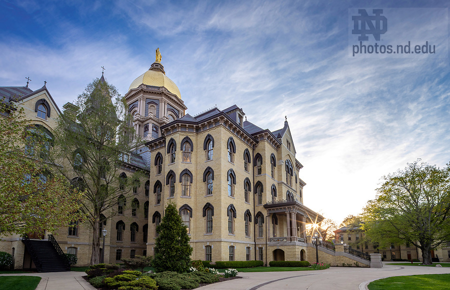 May 8, 2020; Main Building in spring (Photo by Matt Cashore/University of Notre Dame)