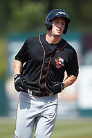 Doran Turchin (27) of the Delmarva Shorebirds rounds the bases after hitting a home run against the Kannapolis Intimidators at Kannapolis Intimidators Stadium on May 19, 2019 in Kannapolis, North Carolina. The Shorebirds defeated the Intimidators 9-3. (Brian Westerholt/Four Seam Images)
