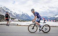 breakaway group led by Louis Vervaeke (BEL/Alpecin-Fenix) up the Passo San Bernardino (2065m/SUI)<br /> <br /> 104th Giro d'Italia 2021 (2.UWT)<br /> Stage 20 (through Switzerland) from Verbania to Valle Spluga-Alpe Motta (164km)<br /> <br /> ©kramon