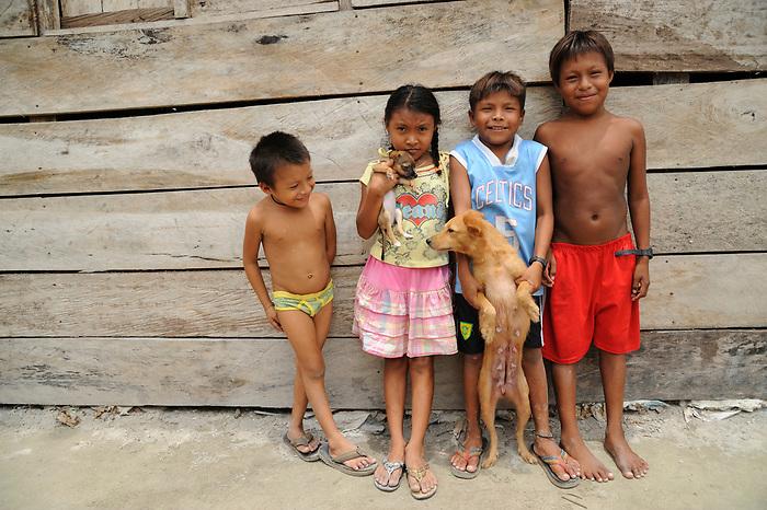 Indígenas guna / niños indígenas con perros en Corbiski, comarca de Guna Yala / Panamá.<br /> <br /> Guna Indians / kids and dogs in Corbiski, Guna Yala region / Panama.