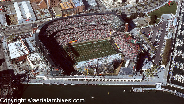 aerial photograph of an XFL football game at AT&T stadium, San Francisco, California