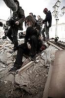 Foto di scena del nuovo film di Sabina Guzzanti, DRAQUILA - L'Italia Che Trema, sarà nelle sale dal 7 Maggio distribuito da BIM..Ufficio stampa: Alessandro Russo (g. marciano).GB/Insidefoto