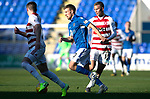 St Johnstone v Hamilton Accies…26.10.19   McDiarmid Park   SPFL<br />David Wotherspoon goes by Adrian Beck<br />Picture by Graeme Hart.<br />Copyright Perthshire Picture Agency<br />Tel: 01738 623350  Mobile: 07990 594431