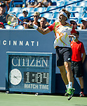 David Ferrer (ESP) during his match against fellow countryman Tommy Robredo (ESP). Ferrer won by 64 36 63 at the Western & Southern Open in Mason, OH on August 15, 2014.