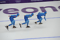 OLYMPIC GAMES: PYEONGCHANG: 18-02-2018, Gangneung Oval, Long Track, Team Pursuit Men, Team Italy, Andrea Giovannini, Riccardo Bugari, Nicola Tumolero, ©photo Martin de Jong