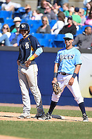 Myrtle Beach Pelicans designated hitter Joey Gallo (14) and first baseman Mark Donato (28) during a game against the Wilmington Blue Rocks on April 27, 2014 at Frawley Stadium in Wilmington, Delaware.  Myrtle Beach defeated Wilmington 5-2.  (Mike Janes/Four Seam Images)