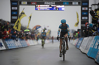 Kevin Pauwels (BEL/Marlux-Napoleon Games) crosses the finish line in 3rd. <br /> Behind him Sven Nys finishes in 4th and the crowd roars as he crosses the line to celebrate the end of an era.<br /> <br /> Men's Elite Race<br /> <br /> UCI 2016 cyclocross World Championships,<br /> Zolder, Belgium