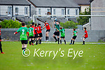 Park B keeper Mark O'Connor rises highest to collect as  Camp United press for a score in the first U14 game as they return to the U14 soccer league in Christy Leahy Park on Bank Holiday Monday.