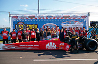 Sep 2, 2019; Clermont, IN, USA; NHRA top fuel driver Doug Kalitta celebrates with crew after winning the US Nationals at Lucas Oil Raceway. Mandatory Credit: Mark J. Rebilas-USA TODAY Sports