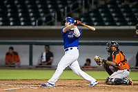 AZL Cubs third baseman Cam Balego (82) follows through on his swing against the AZL Giants on July 17, 2017 at Sloan Park in Mesa, Arizona. AZL Giants defeated the AZL Cubs 12-7. (Zachary Lucy/Four Seam Images)