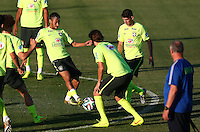 Neymar of Brazil in action during training ahead of tomorrow's World Cup quarter final vs Colombia