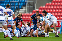 21st August 2020; AJ Bell Stadium, Salford, Lancashire, England; English Premiership Rugby, Sale Sharks versus Exeter Chiefs; Jack Maunder of Exeter Chiefs clears the ball