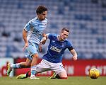 25.07.2020 Rangers v Coventry City: Ryan Kent fouled by Callum O'Hare